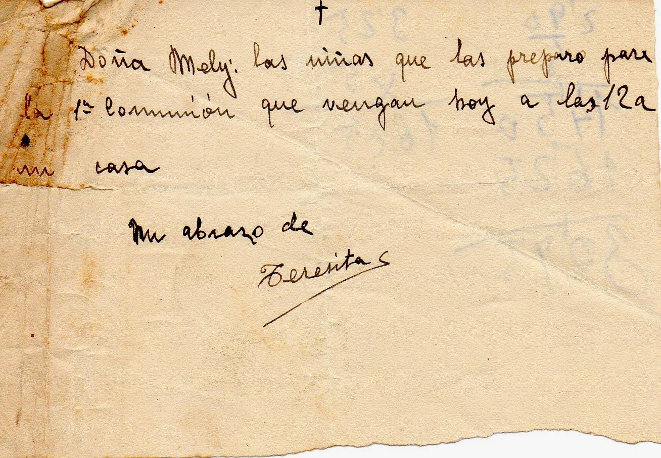 Melitina Álvaro Blázquez - Material escolar - 1933-1940 - Nota interna sujeta con una aguja de cabeza
