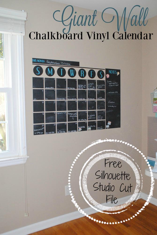 Giant Chalkboard Vinyl Wall Calendar Free Silhouette