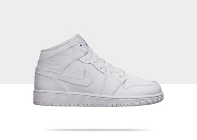 Air Jordan 1 Mid (3.5y-7y) Boys' Shoe White/White-White, Style - Color # 554725-100