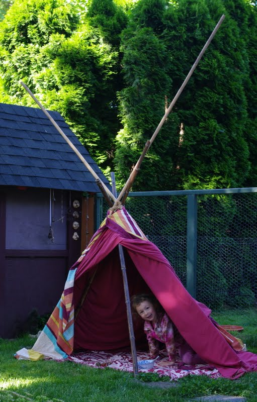 I donu0027t know how it came up but somehow Naiya and I got to talking about teepees. When I remembered that we had a bunch of bamboo poles out in the garage ...  sc 1 st  passengers on a little spaceship - Blogspot & passengers on a little spaceship: backyard teepee