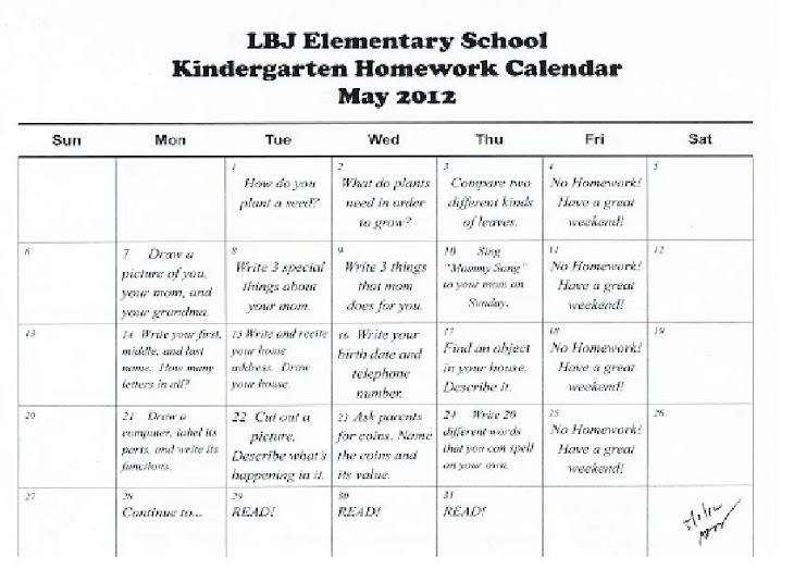 Kindergarten News At Lbj: Kindergarten September Homework Calendar