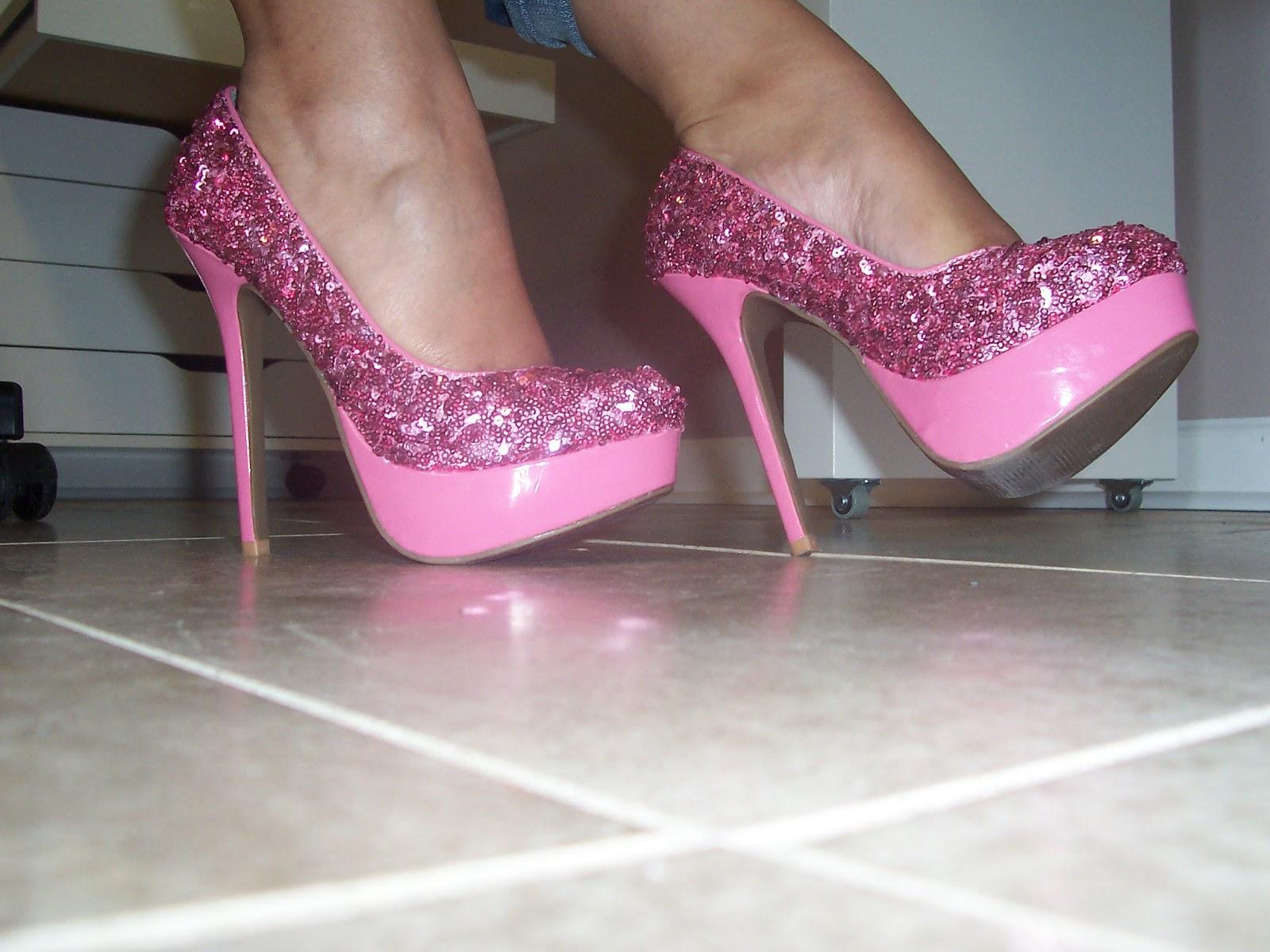 Pink Sequin Heels