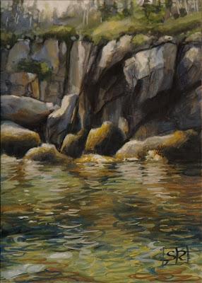 Sea cliffs, southwest cove, gouache landscape, Shannon Reynolds