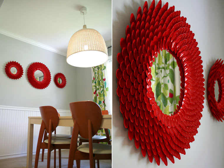 Red Chrysanthemum Mirror at the Dining room