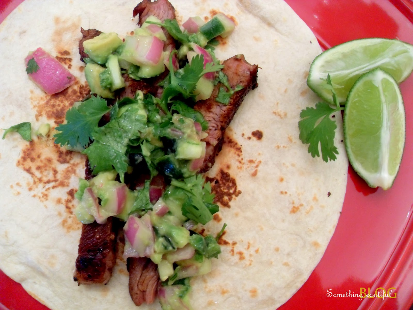 Something Beautiful: Steak Tacos with Cucumber-Avocado Salsa