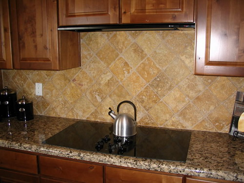 exotic colored stone tile kitchen backsplash ideas