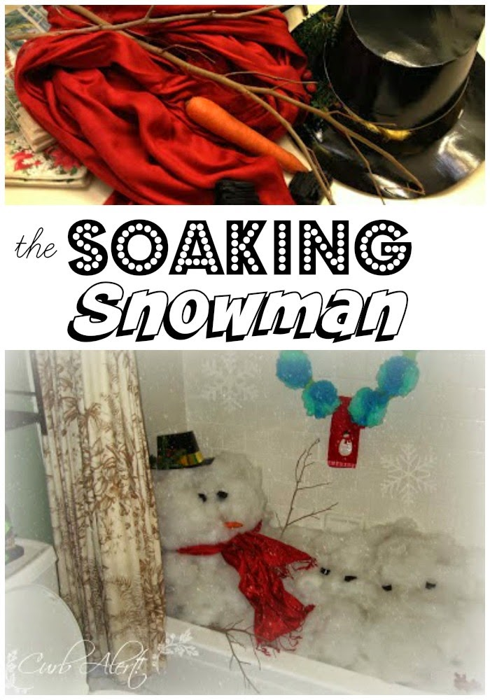 OMG how cute, I love this Soaking Snowman!  Fun idea for a Holiday party! via Curb Alert!