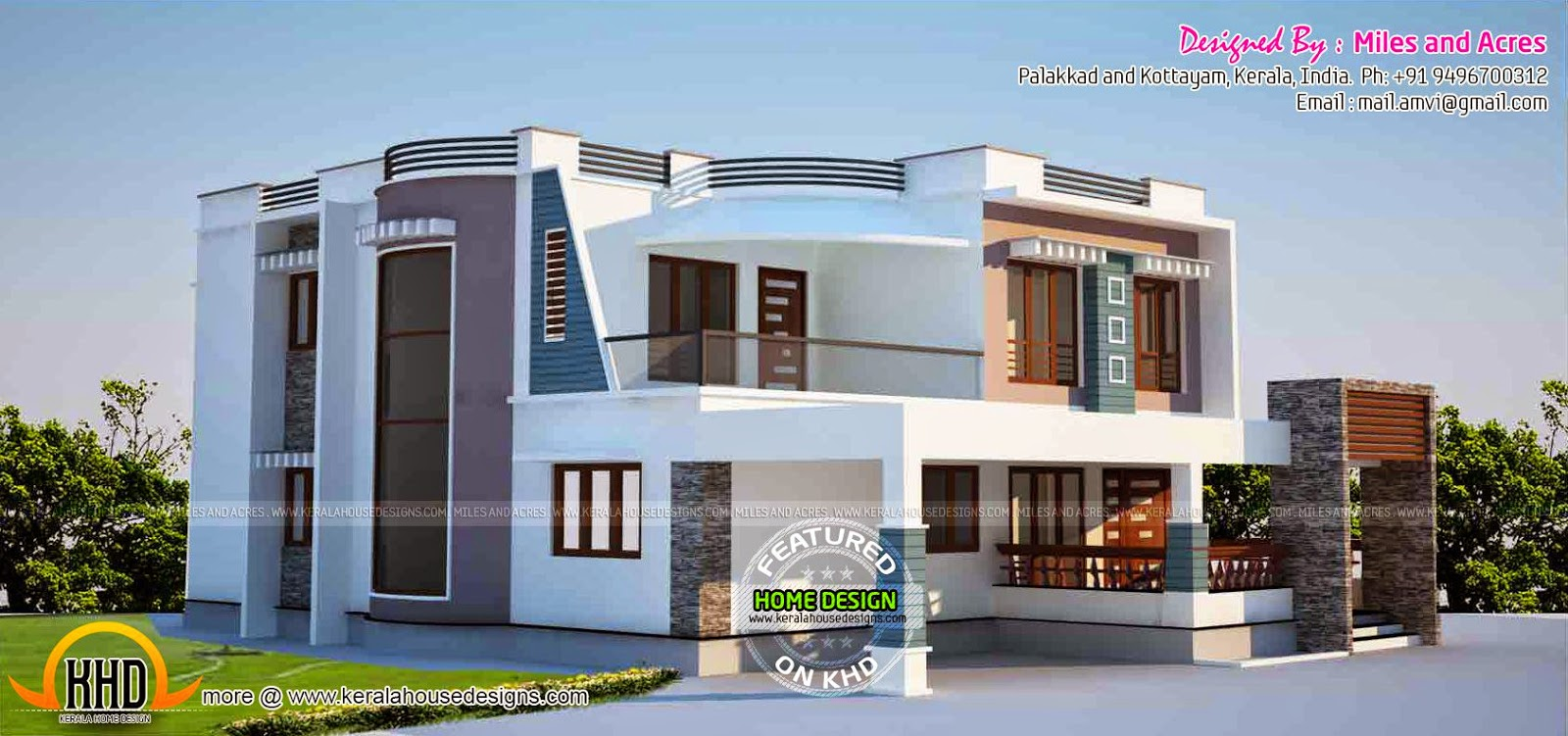 Contemporary house plans kerala home design and floor plans for Flat roof elevation