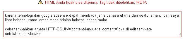 solusi html anda tidak bisa diterima