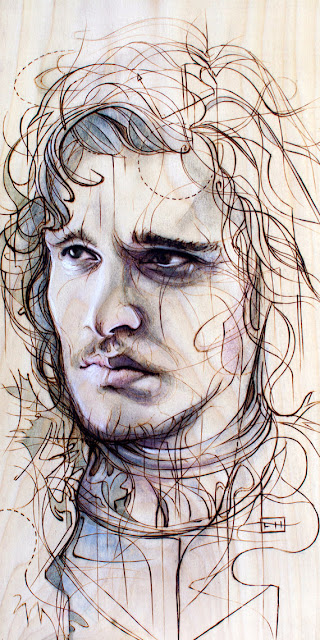 Jon Snow Print on Wood by FayHelfer