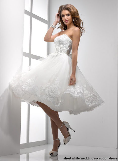 short white wedding reception dress