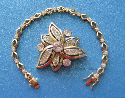 Roman tennis bracelet, vintage Kramer rhinestone brooch, Serendipity Handmade blog