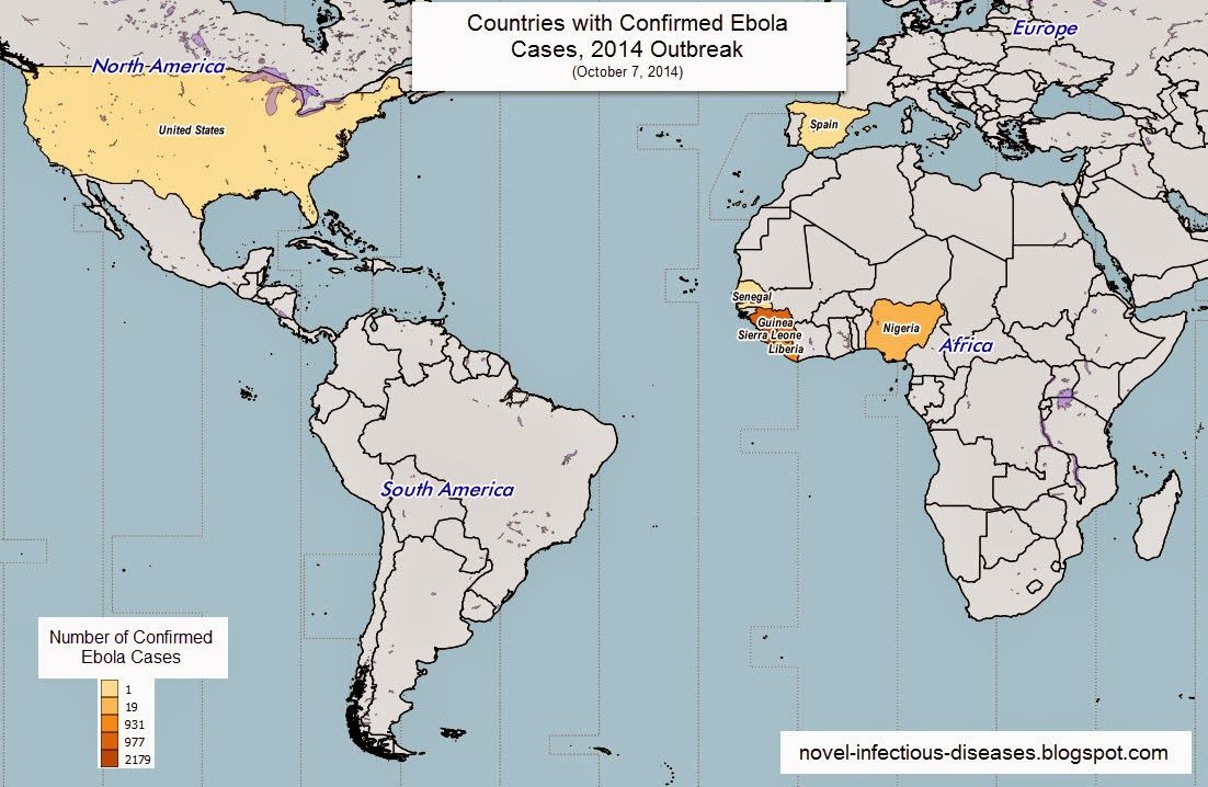 novel infectious diseases map countries with confirmed ebola