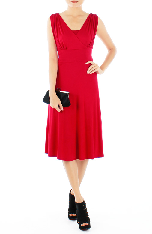 Lust Red Ethereal Ruche V-Neck Flare Dress in Midi Length