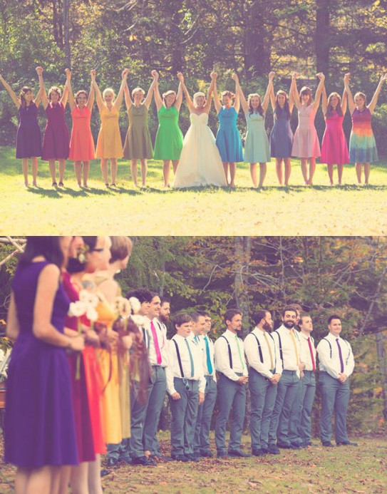 Rainingblossoms rainbow color wedding theme ideas for Rainbow wedding dress say yes to the dress