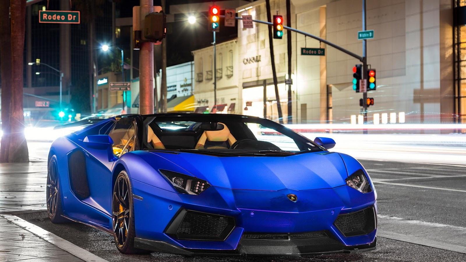 Matte Blue Lamborghini HD Wallpaper