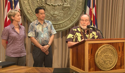 Hawaii Deputy Attorney General Anne Lopez, Attorney General David Louie, Gov. Neil Abercrombie announce gay marriage special session, courtesy photo