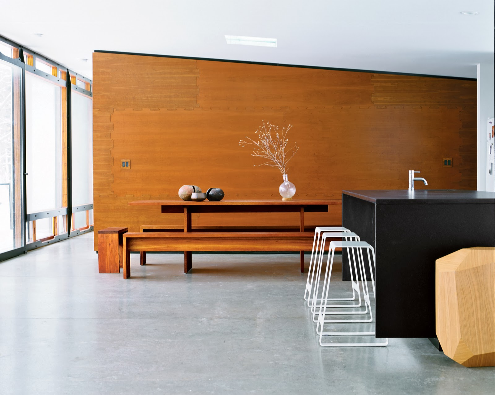 Iiiinspired space a spacious prefab with lots of wood - Kitchen and dining area design crossword ...