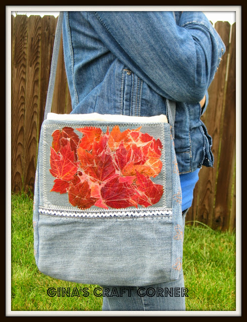 Blue Jean, Fall Bag w/ Real Pressed Leaves
