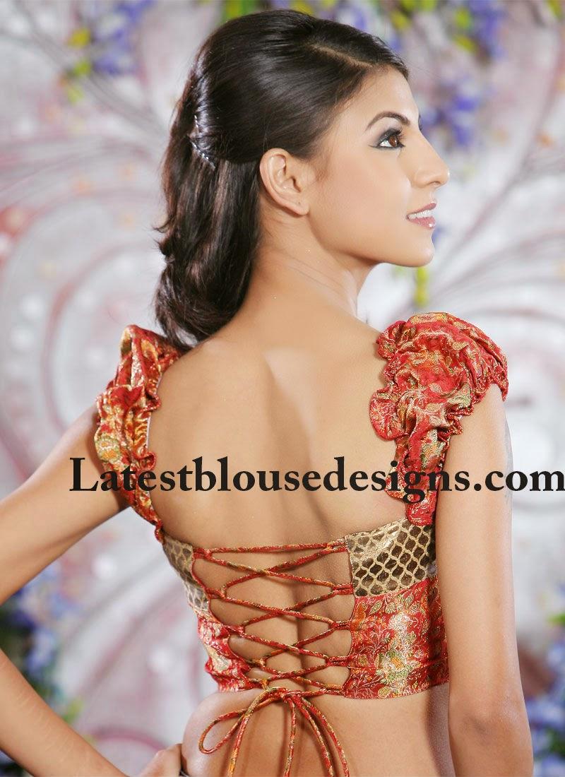 criss cross back neck blouse