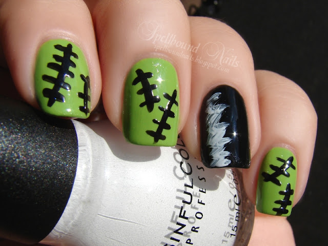 nails nailart nail art polish mani manicure Spellbound Nail-Aween Halloween Challenge Frankenstein Bride of hair black white green stitched stitching stitch Sinful Colors Sally Hansen L.A. Colors