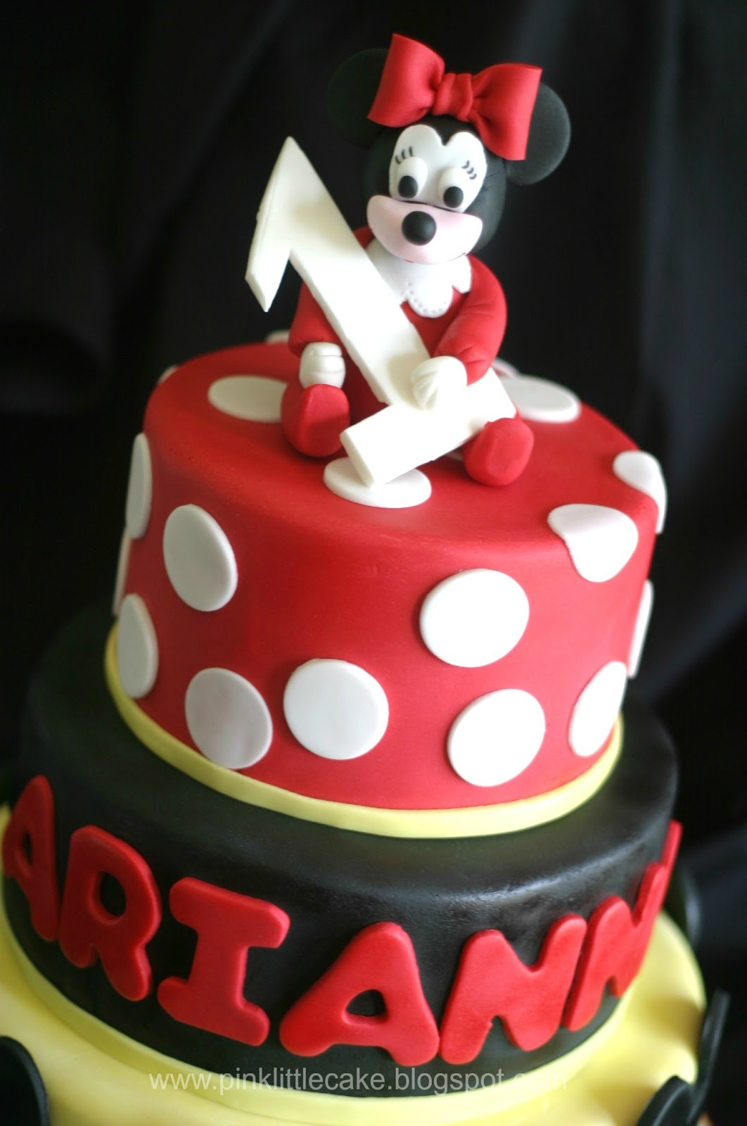 My Pink Little Cake Minnie Mouse With Red Pjs 1st Birthday Cake