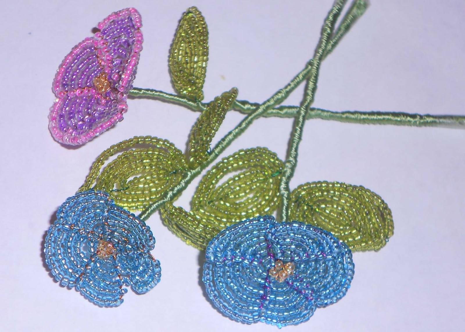 Фото листика из бисера для фиалки