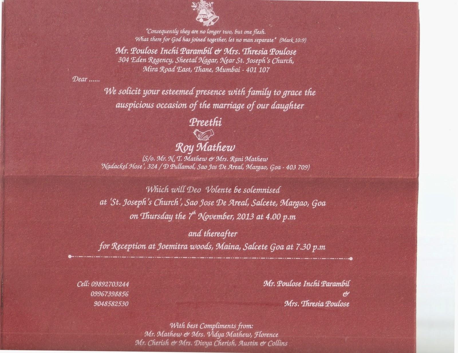 My daughter Preethi\'s wedding Invitation: My daughter Preethi\'s ...