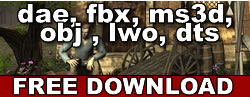 Free dae, fbx, ms3d, obj, lwo and dts download