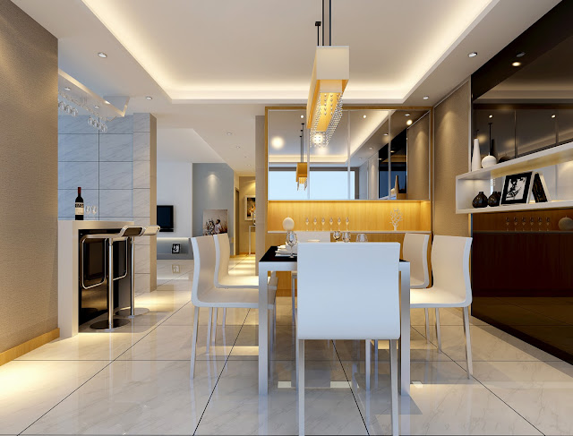 Mẫu trần thạch cao phòng ăn nhà ở gia đình hiện đại