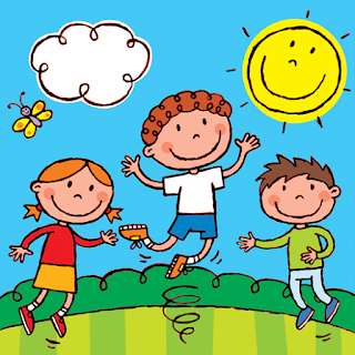 Picture of children jumping for joy from My Happy Book A children's kindle picture book with added activities