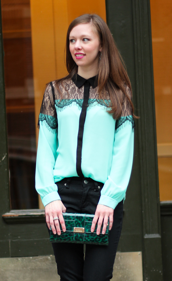 StyleSidebar - Black Lace Mint Blouse, Green Leopard Clutch
