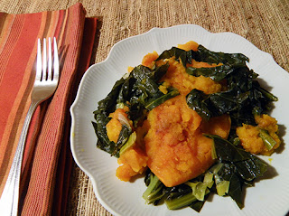 Serving of Baked Kabocha Squash with Collard Greens
