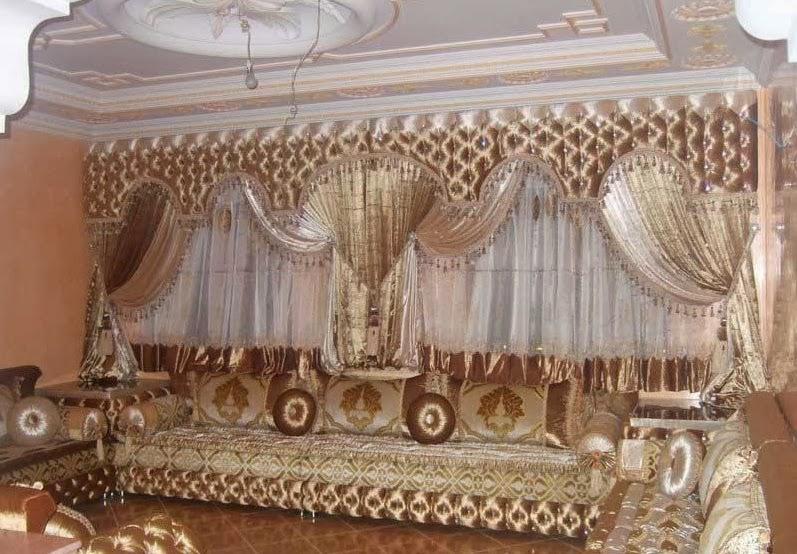 D coration de salon marocain rideaux occultant pour salon traditionnel - Deco rideaux pour salon ...