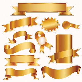 クリスマスセール用金色の装飾素材 gold ribbon and christmas sales icon イラスト素材2