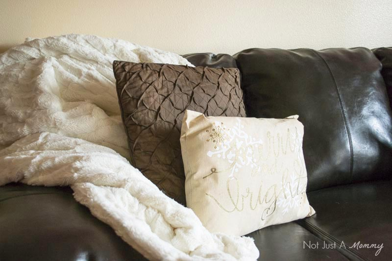How To Decorate Your Home For The Holidays With Big Lots; festive pillows warm up your space