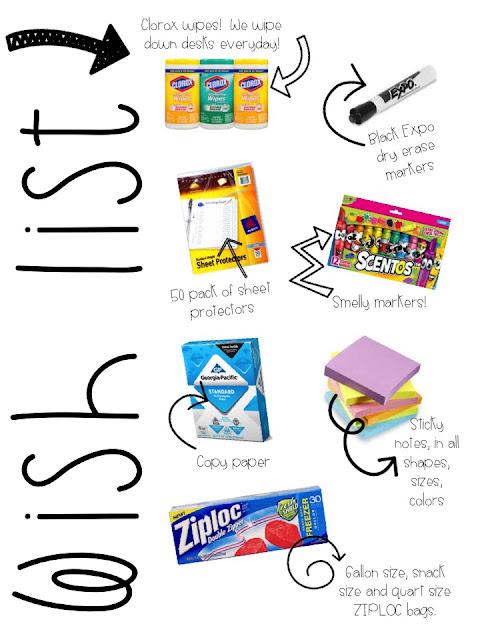 Classroom Wish List Ideas ~ First grader at last meet the teacher tips ideas