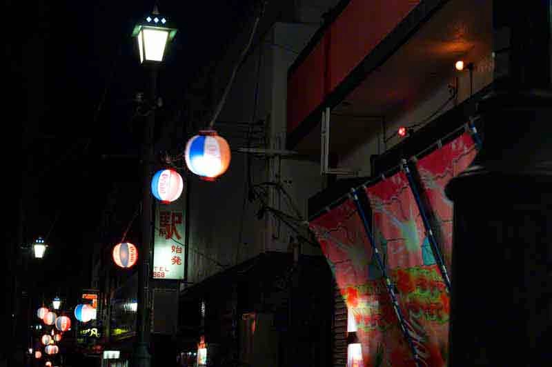 paper lanterns,night,street scene