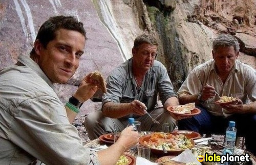 This picture truly describes the reality in the tv show manvswild, i think this may be true. that is funny too they eating all that food behind the cameras. funny reality.