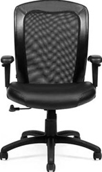 Black Leather and Mesh Office Chair