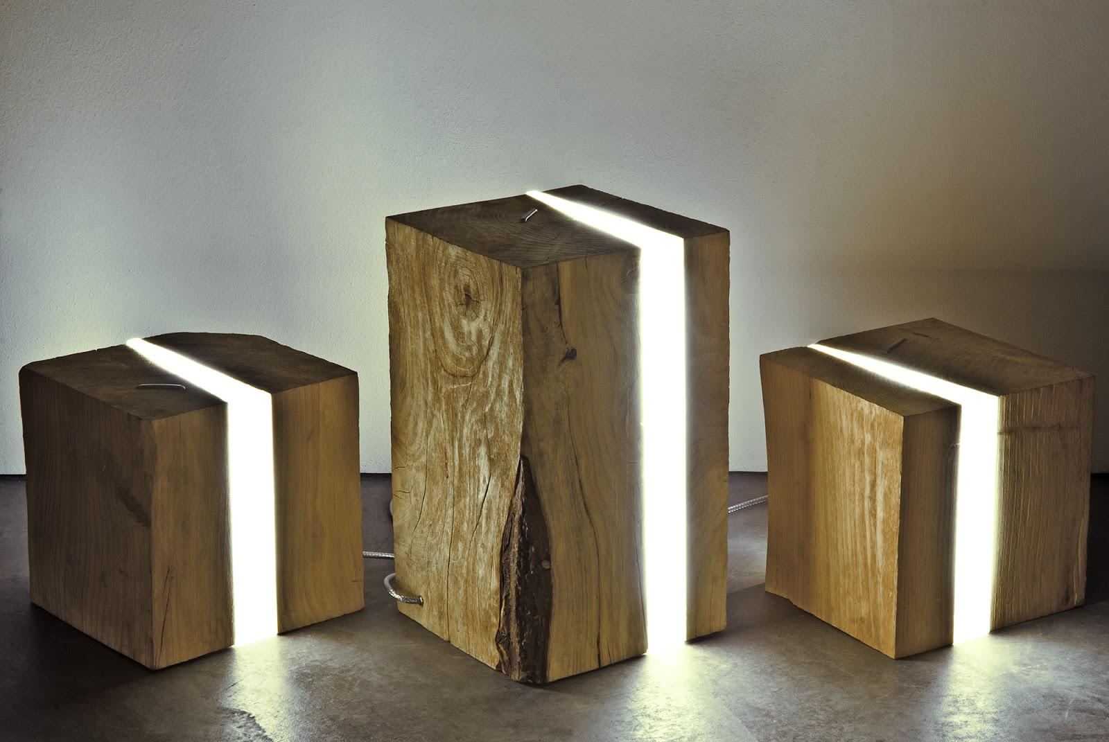 brecce è la collezione di lampade in legno di cedro