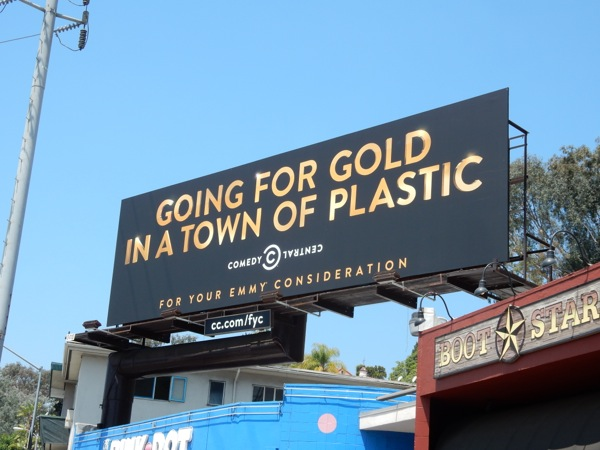 Going for gold in town plastic Comedy Central Emmy 2015 billboard