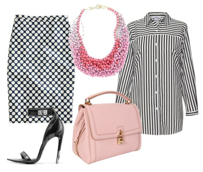 striped shirt, polka dot skirt, statement necklace, givenchy bag, dolce & gabbana bag