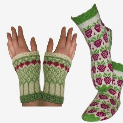 Bringebær sokker og pulsvarmere