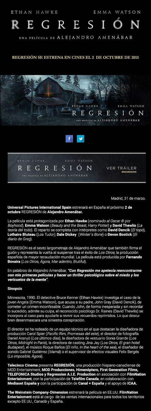 REGRESIÓN - Alejandro Amenábar