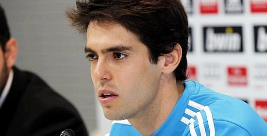 Kaka before the media with a blue Real Madrid training jersey