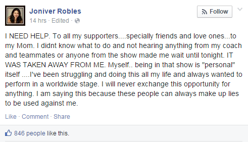 Joniver Robles Reason Behind the Kick Out in The Voice of the Philippines