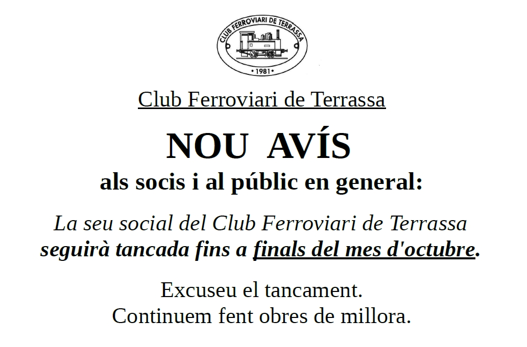 Nou Avís de tancament de la seu social del Club