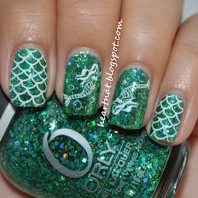 Green Glitter Mermaid Nails