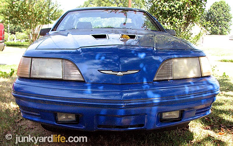 Blue 1987 Ford Thunderbird Turbo Coupe found in yard with a 5-speed, and an owner that wanted to sell.